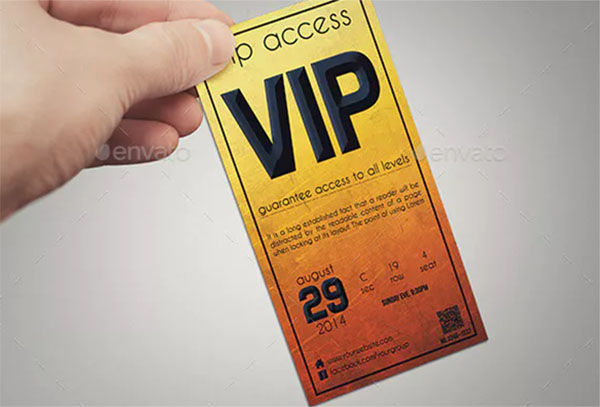 Golden Style VIP Pass Card Templates