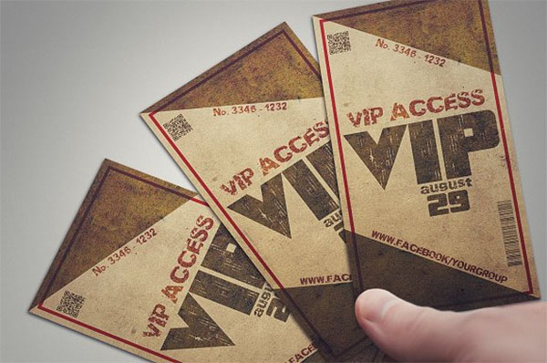 Grunge VIP Pass Card Template