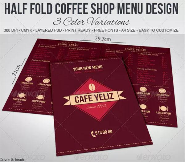 Half Fold Coffee Shop Menu Design