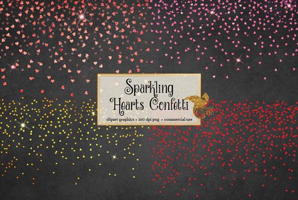 Hearts Confetti Overlays