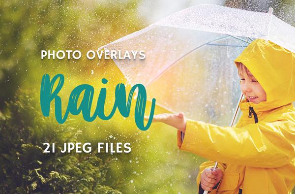 High Resolution Rain Photo Overlays Set