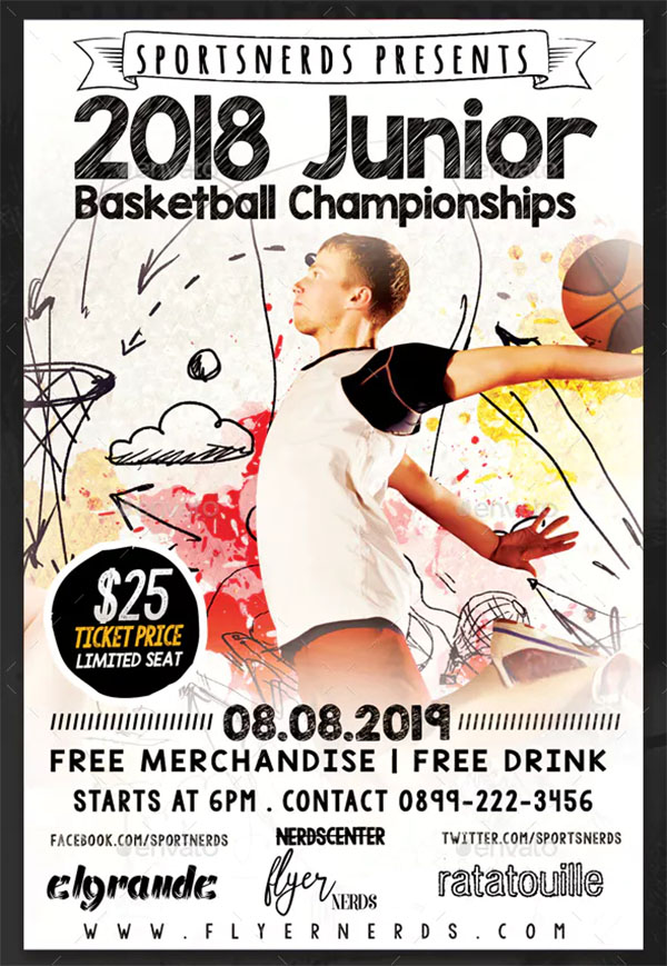 Junior Basketball Championships Sports Flyer