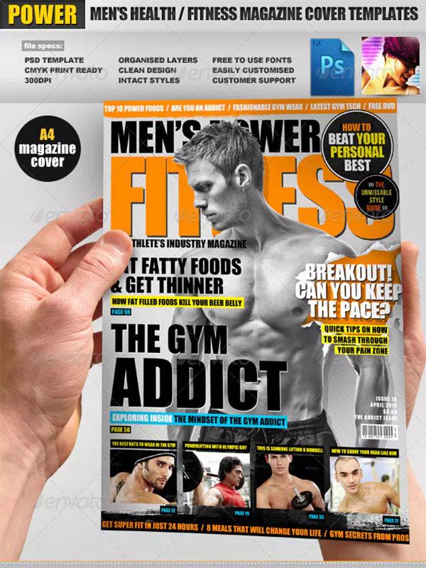 Men's Power Fitness Magazine Cover Template