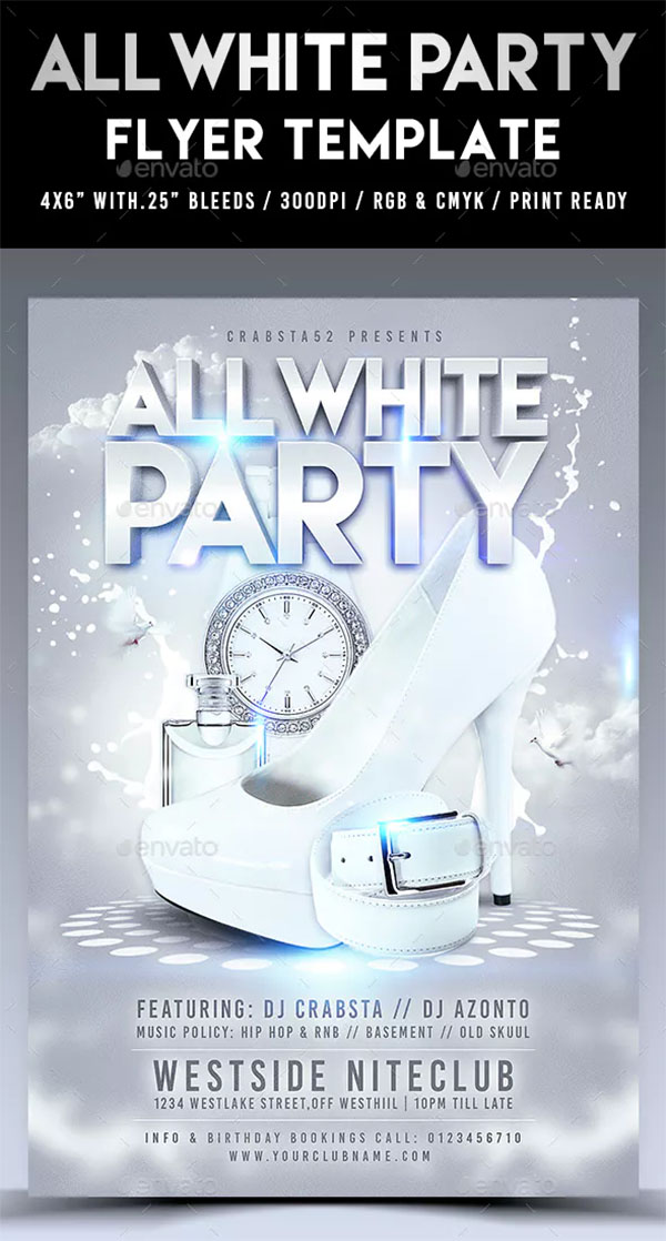 Modern White Party Flyer Template