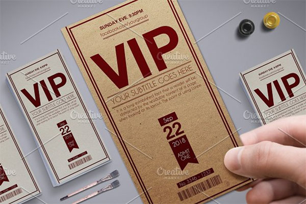 Multipurpose Retro VIP Pass Card Template