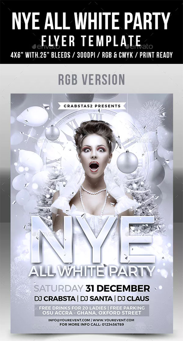 NYE All White Party Flyer Template