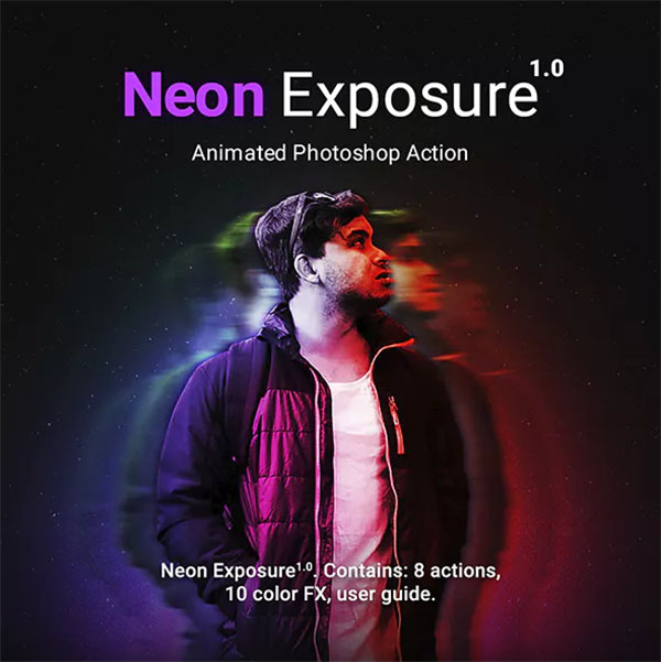 Neon Exposure Animated Photoshop Action