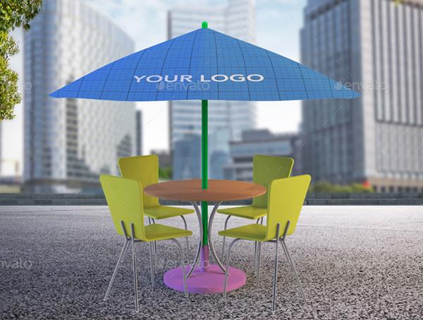 Outdoor Sun Umbrella Mockup