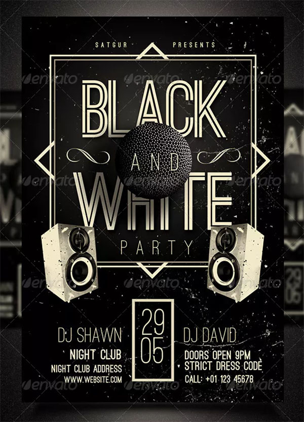 PSD Black and White Party Flyer Template