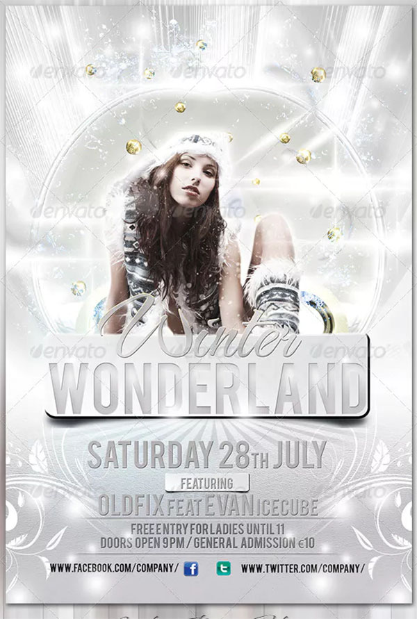 PSD White Party Flyer Template
