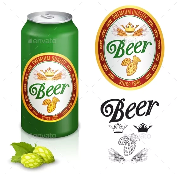 Premium Quality Golden Beer Label
