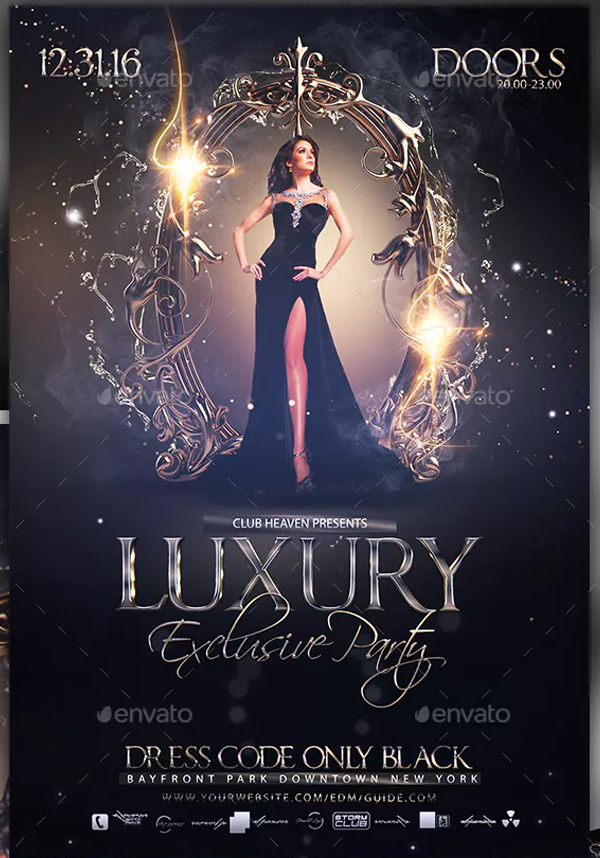 Printable Luxury Exclusive Party Flyer Template