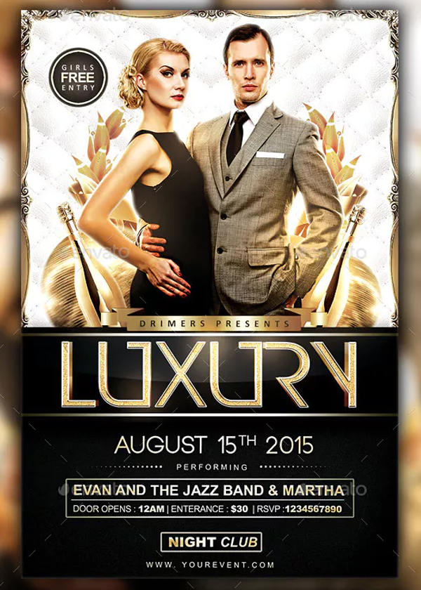 Printable Luxury Party Flyer Template
