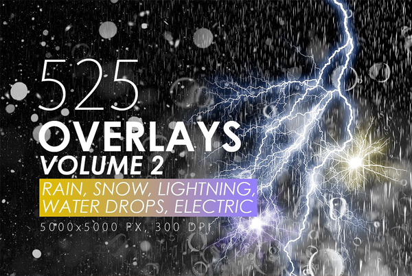 Rain, Snow and Lightning Overlays Bundle