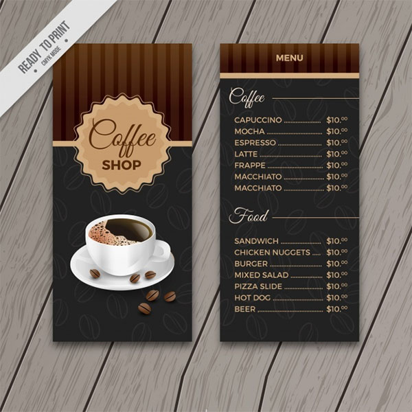 Retro Cafe Menu Template Free PSD