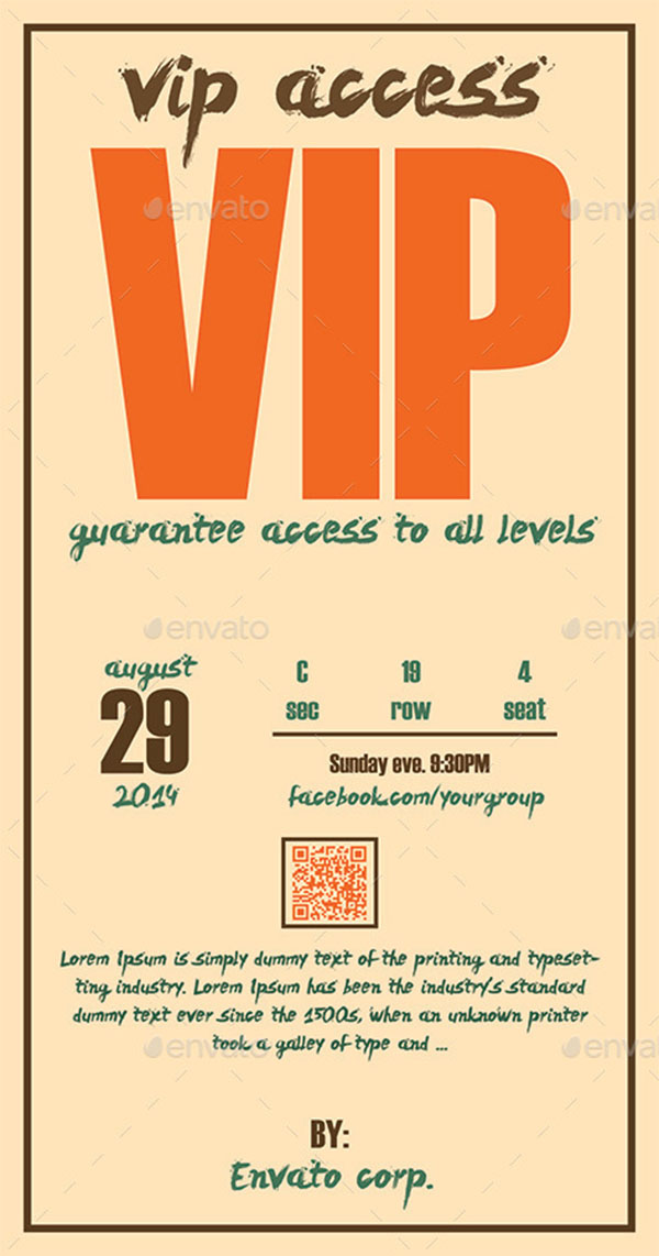 Retro Elegant VIP Pass Template