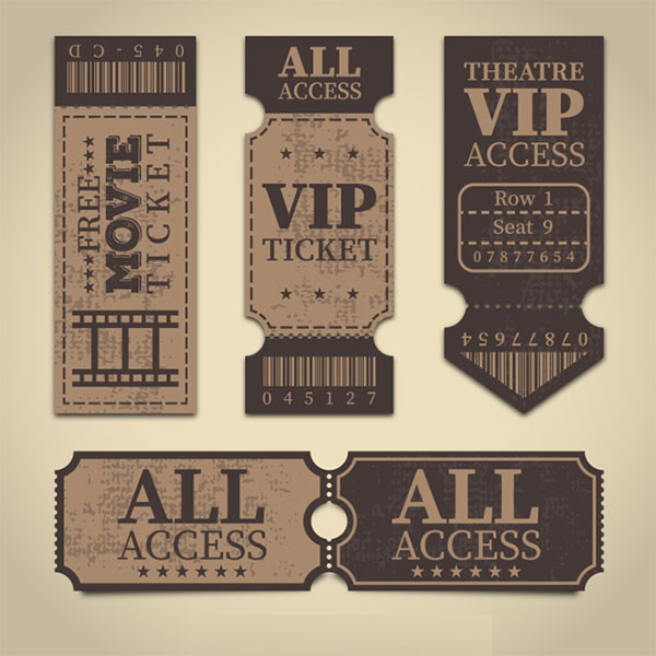 Retro VIP Tickets Free Vector Template