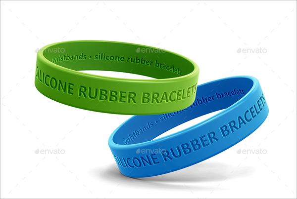 Rubber Bracelets and Wristbands Packaging MockUp