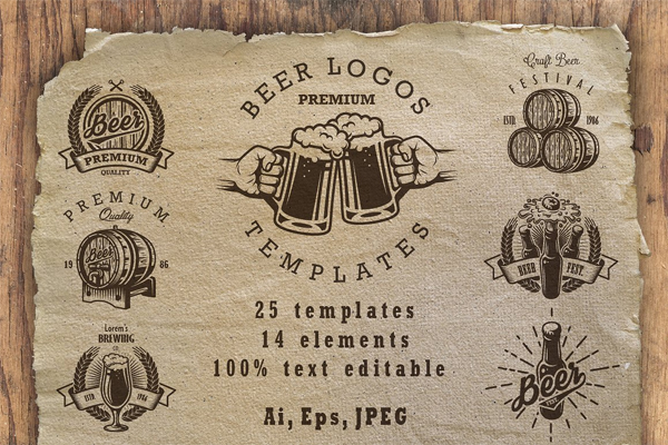 Set of Beer Logos Templates