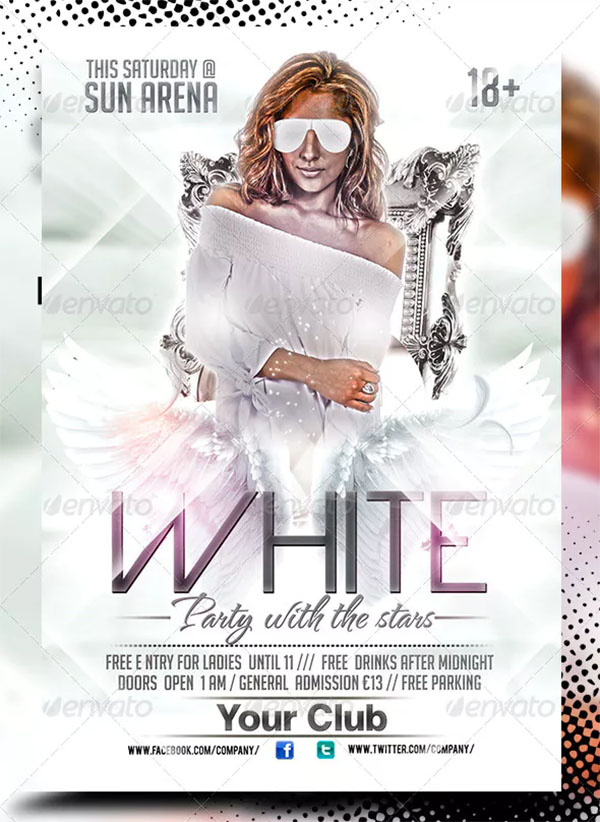 Sexy White PSD Party Flyer Template