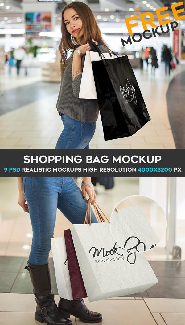 Shopping Bag Free PSD Mockups Bundle