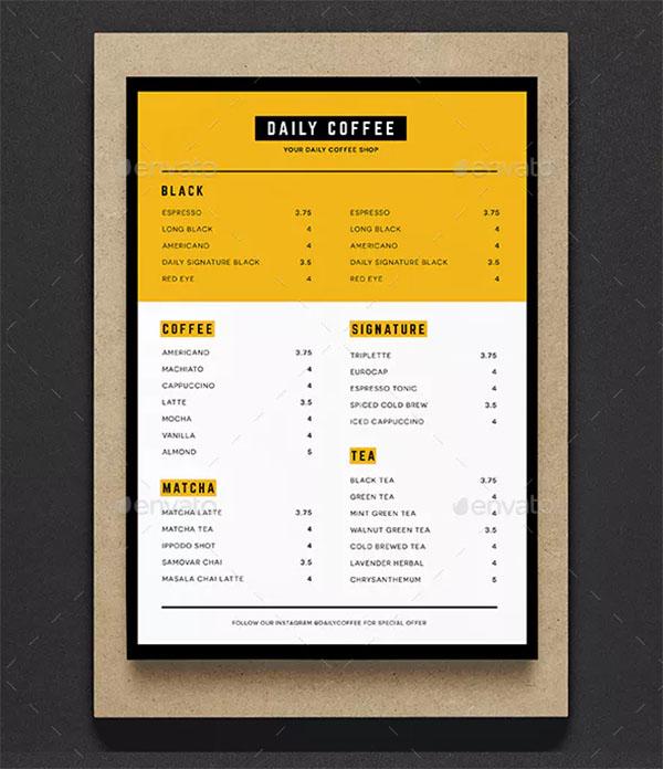 Simple Coffee Shop Menu