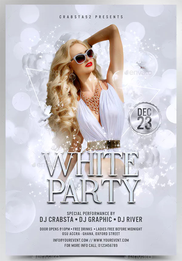 Stylish White Party Flyer Template