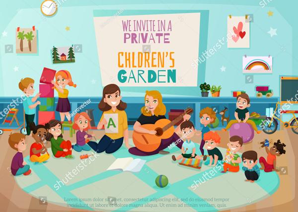 Vector Kindergarten Flyer and Poster Template