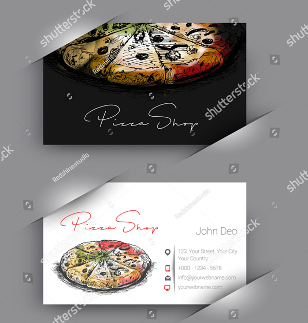 Vector Pizza Shop Business Card