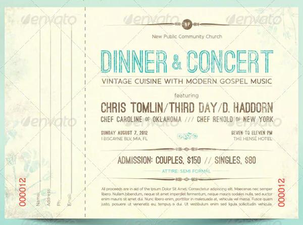 Dinner Ticket Templates 28 Psd Ai Format Free Premium Downloadss