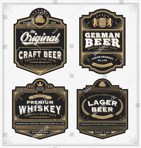 Vintage Frame Design for Beer Label Templates