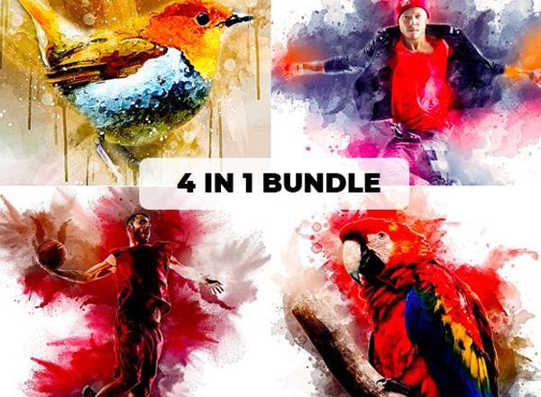 Watercolor Photoshop Action Bundle