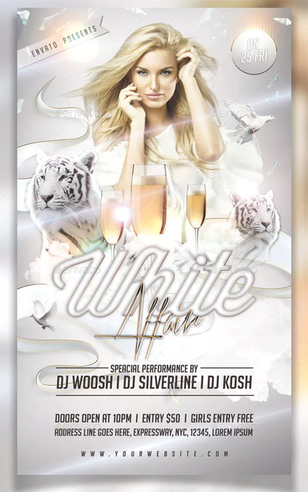White Affair Party Flyer PSD Template