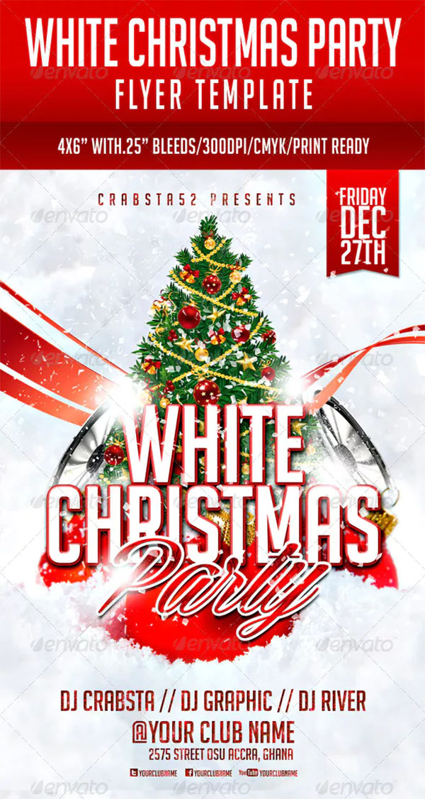 White Christmas Party Flyer PSD Template Design