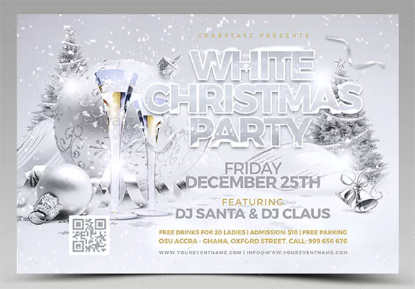 White Christmas Party Flyer PSD Template