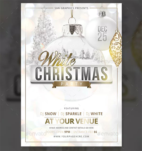 White Christmas Party PSD Flyer Template