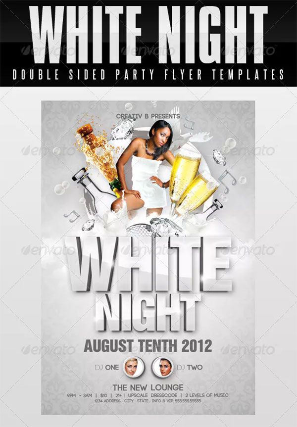 White Night Party Flyer Templates
