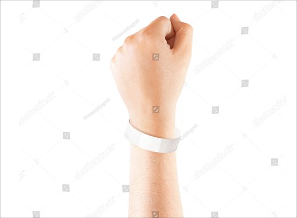 White Paper Wristband Mockup