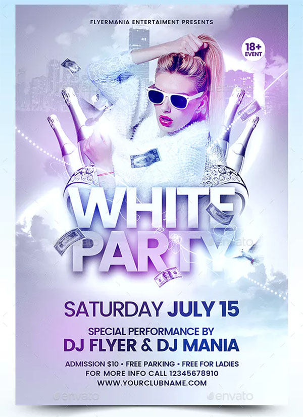 White Party Celebration Flyer Template