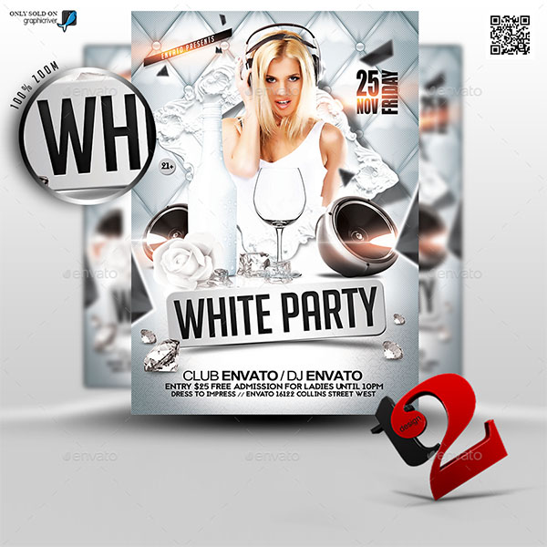White Party Classy Flyer Template