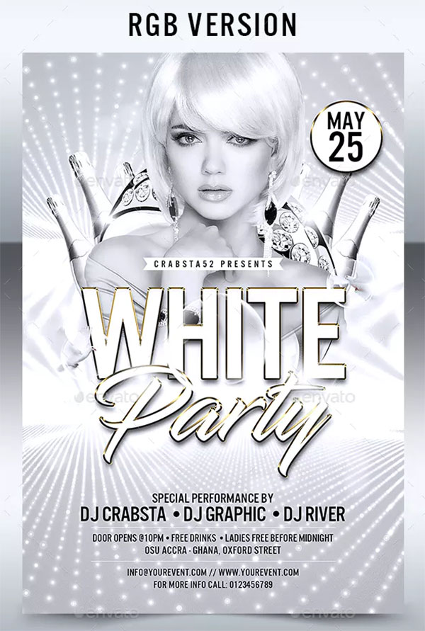 White Party Club Flyer Template