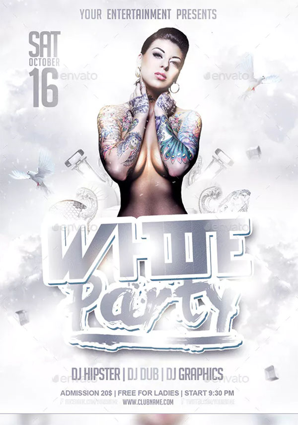 White Party Flyer PSD Templates