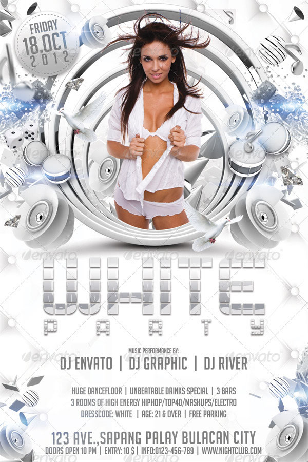 White Party Flyer Template Design
