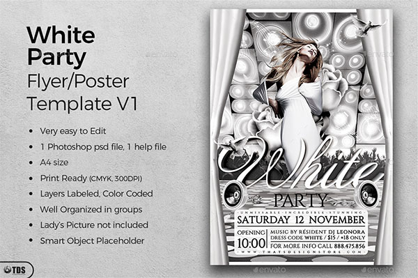 White Party Flyer and Poster Template