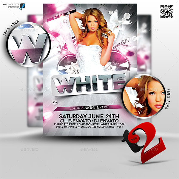 White Party Music Flyer Template