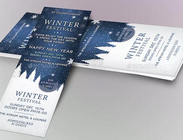 Winter Festival Dinner Ticket Template