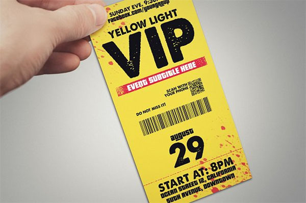 Yellow Light VIP Pass Card Template