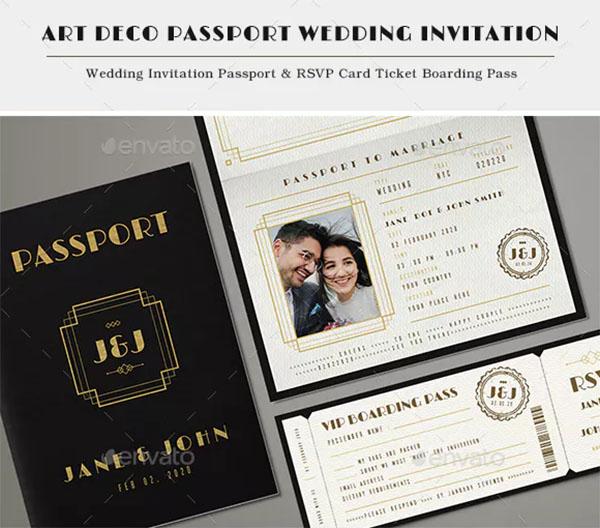 Art Deco Passport Wedding Invitation