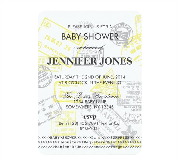 Baby Shower Passport Party Invitation