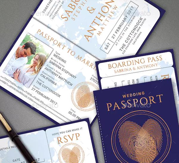 Beautiful Passport Wedding Invitation